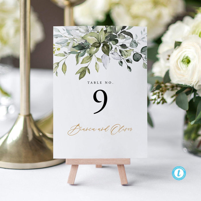 Rustic Greenery Wedding Table Numbers - Pearly Paper