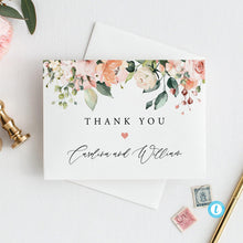 Load image into Gallery viewer, Wedding Thank You Note Floral - Pearly Paper