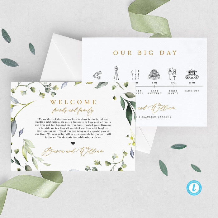 Greenery Wedding Day Timeline - Pearly Paper
