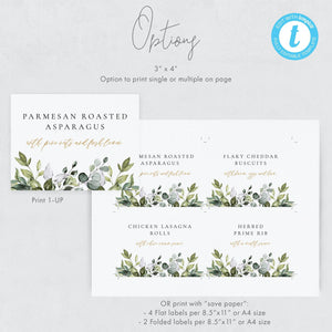 Editable Buffet card template download - Pearly Paper