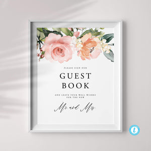 Wedding Guest Book Sign Template - Pearly Paper