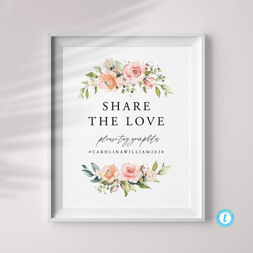 Share the Love Wedding Hashtag - Pearly Paper