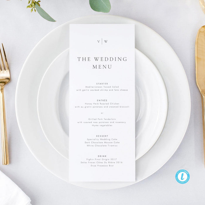 Printable Wedding Menu - Pearly Paper