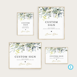 Custom Sign Template Printable Greenery - Pearly Paper