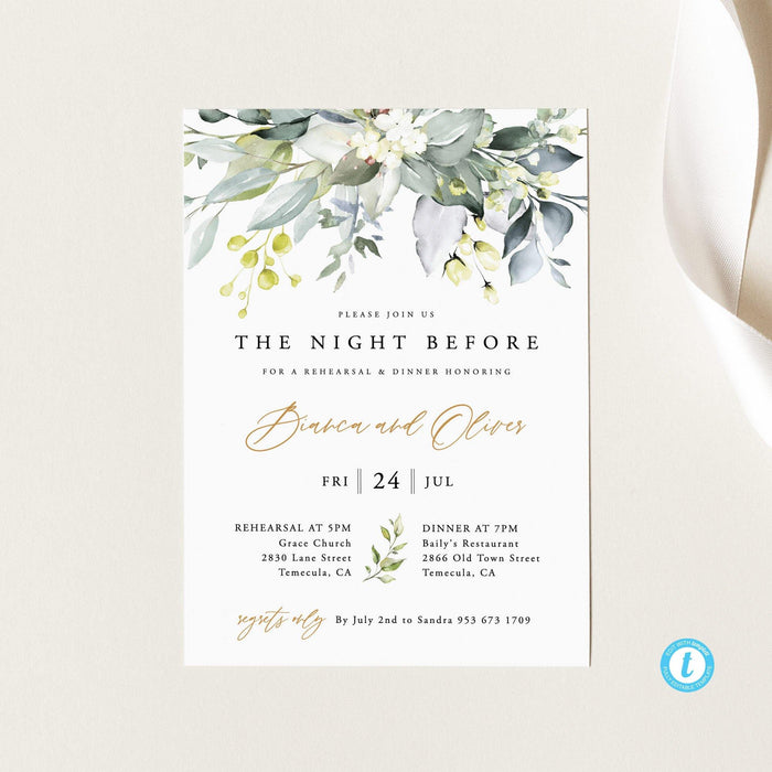 Wedding Rehearsal Dinner Invite - Pearly Paper