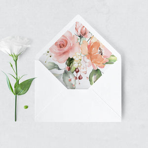 Floral Envelope Liner Pink & Peach - Pearly Paper