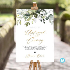 Unplugged Ceremony Sign Template Download - Pearly Paper