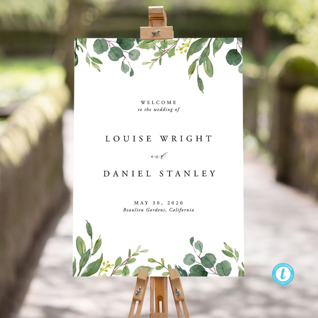 Wedding sign Template Download Rustic - Pearly Paper