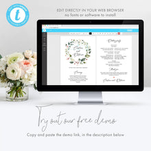Load image into Gallery viewer, Wedding program Fan Greenery Floral - Pearly Paper