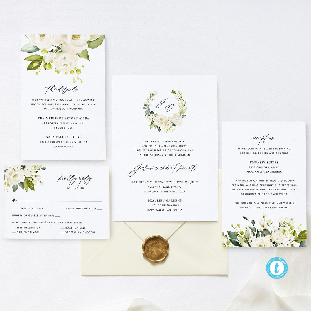 Printable Wedding Set Invitation Template - Pearly Paper