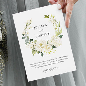 Wedding Invitation Template Download Floral - Pearly Paper