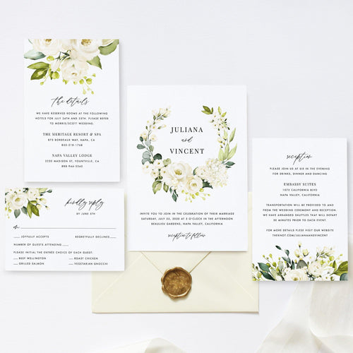Wedding Invitation Template Floral Invitation - Pearly Paper