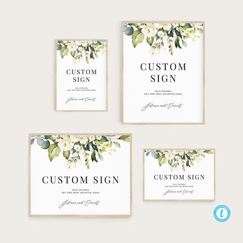 Printable Custom Sign Template Floral - Pearly Paper