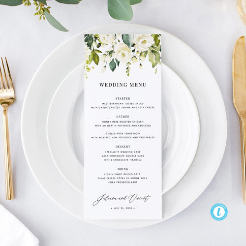 Wedding Menu White Floral - Pearly Paper