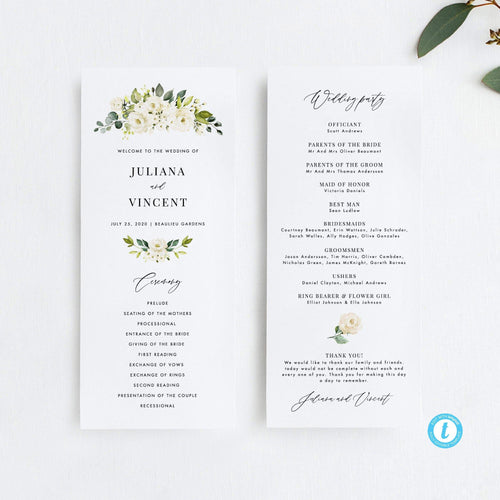 Floral Wedding Ceremony Program - Pearly Paper