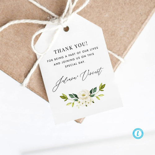 Favor Tag Template White Floral - Pearly Paper