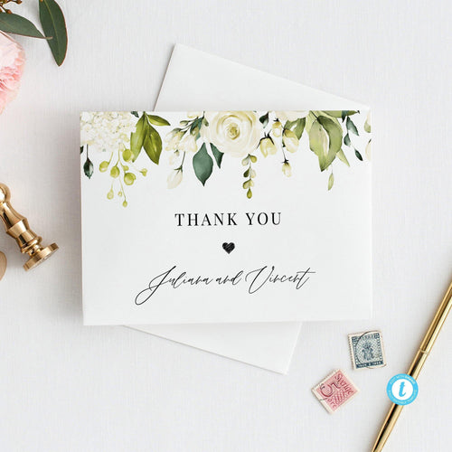 Floral Thank You Card - Pearly Paper