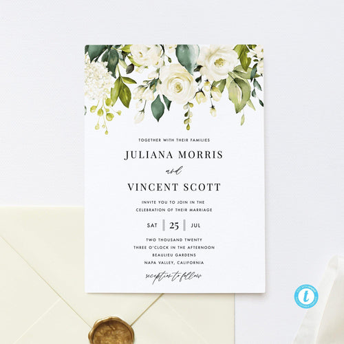 Boho Wedding Invitation Template Download - Pearly Paper
