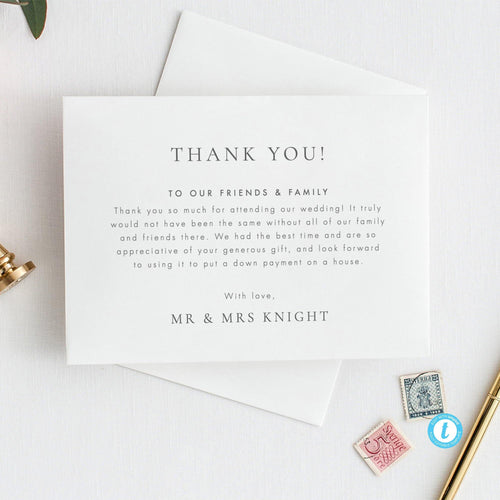 Classic Wedding Thank You Card - Pearly Paper