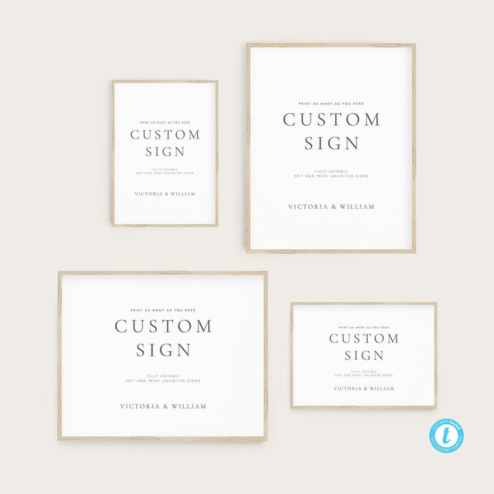 Classic Wedding Custom Sign Template - Pearly Paper