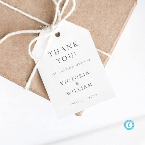 Wedding Tag Template Modern Tag - Pearly Paper
