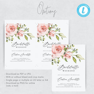 Bachelorette Party Invitation Template Bachelorette - Pearly Paper