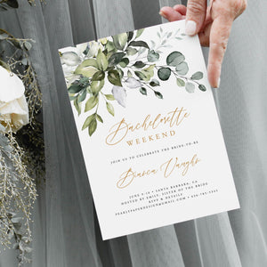 Greenery Bachelorette Weekend Invitation - Pearly Paper