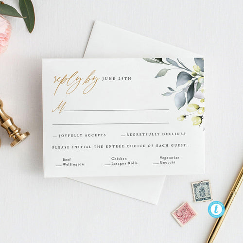 Greenery RSVP Card Template Rustic - Pearly Paper