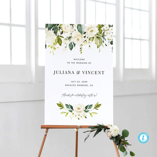 Wedding Welcome Sign Template White - Pearly Paper