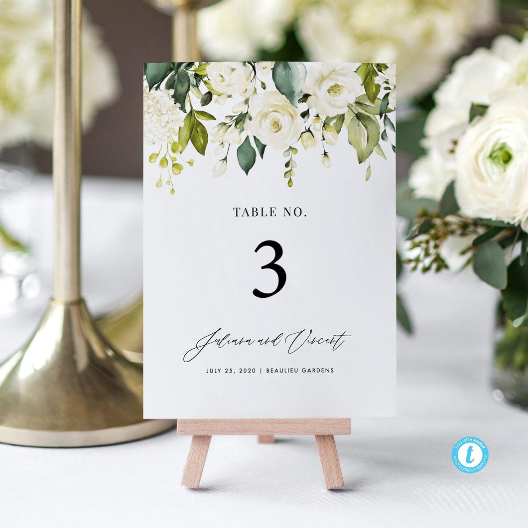 White Floral Table Numbers - Pearly Paper