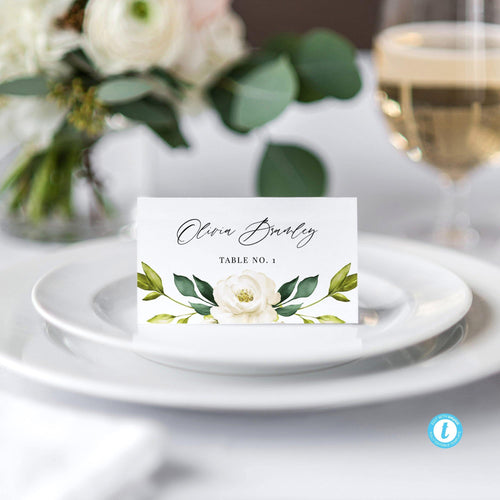 White Floral Place Cards - Pearly Paper