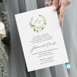 Floral Wedding Invitation Template Download - Pearly Paper