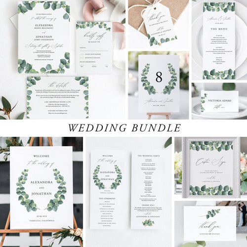 Eucalyptus Wedding Bundle Download Wedding Invitation - Pearly Paper
