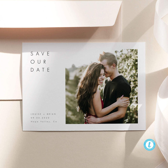 Minimalist Save the Date with Photo - Pearly Paper
