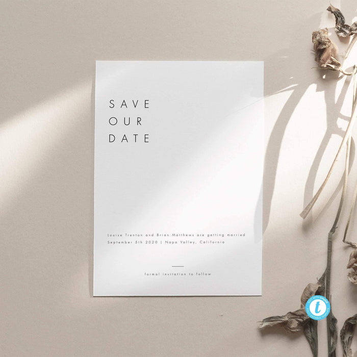 Minimalist Save the Date - Pearly Paper