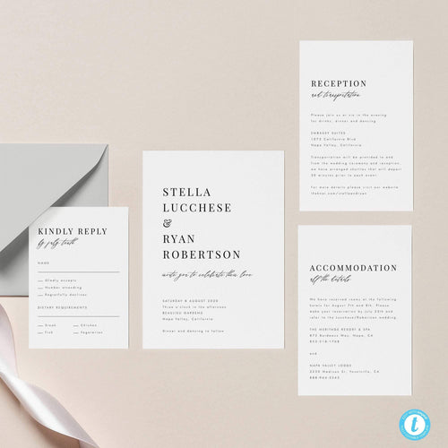 Classic Minimalist Wedding Invitation Set - Pearly Paper