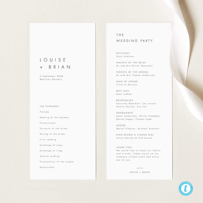 Minimalist Ceremony Program - Pearly Paper