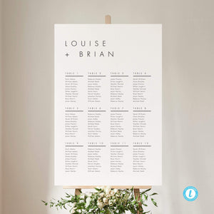Minimalist Wedding Seating Chart Sign - Pearly Paper