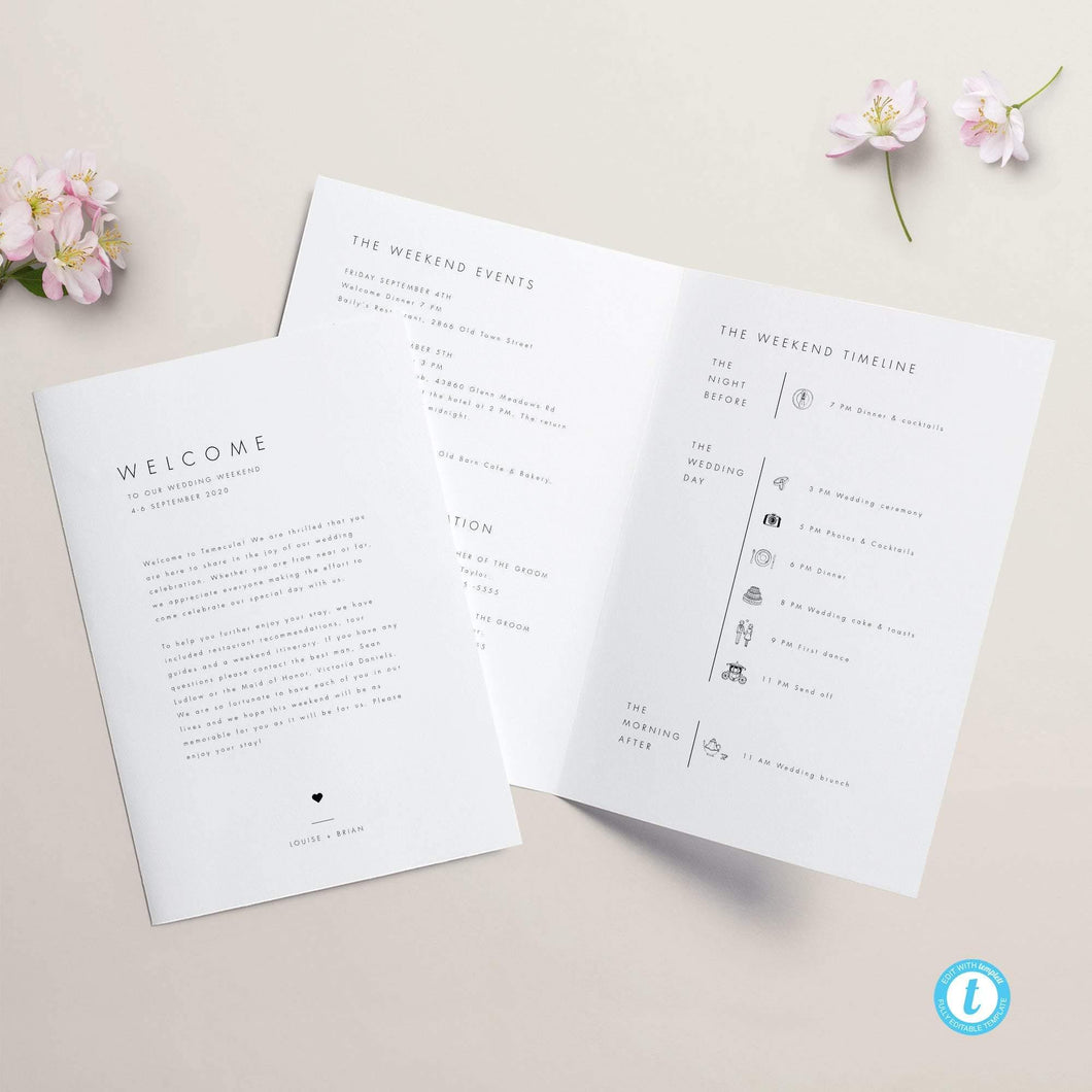 Minimalist Weekend Itinerary Booklet - Pearly Paper