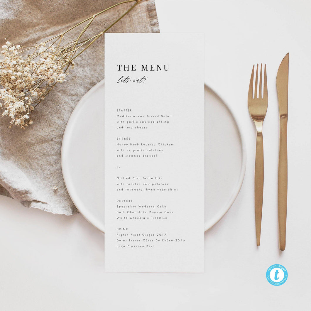 Classic Minimalism Wedding Menu - Pearly Paper