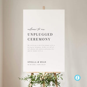 Minimalist Unplugged Wedding Sign - Pearly Paper