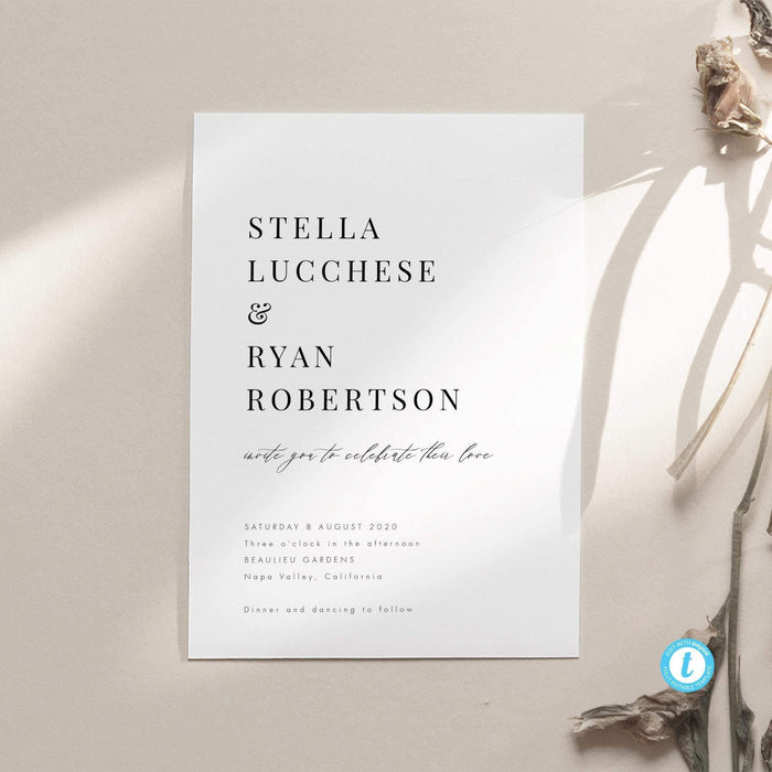 Classic Minimalist Wedding Invitation - Pearly Paper