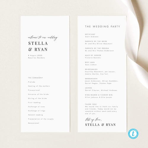 Minimalist Wedding Ceremony Program - Pearly Paper