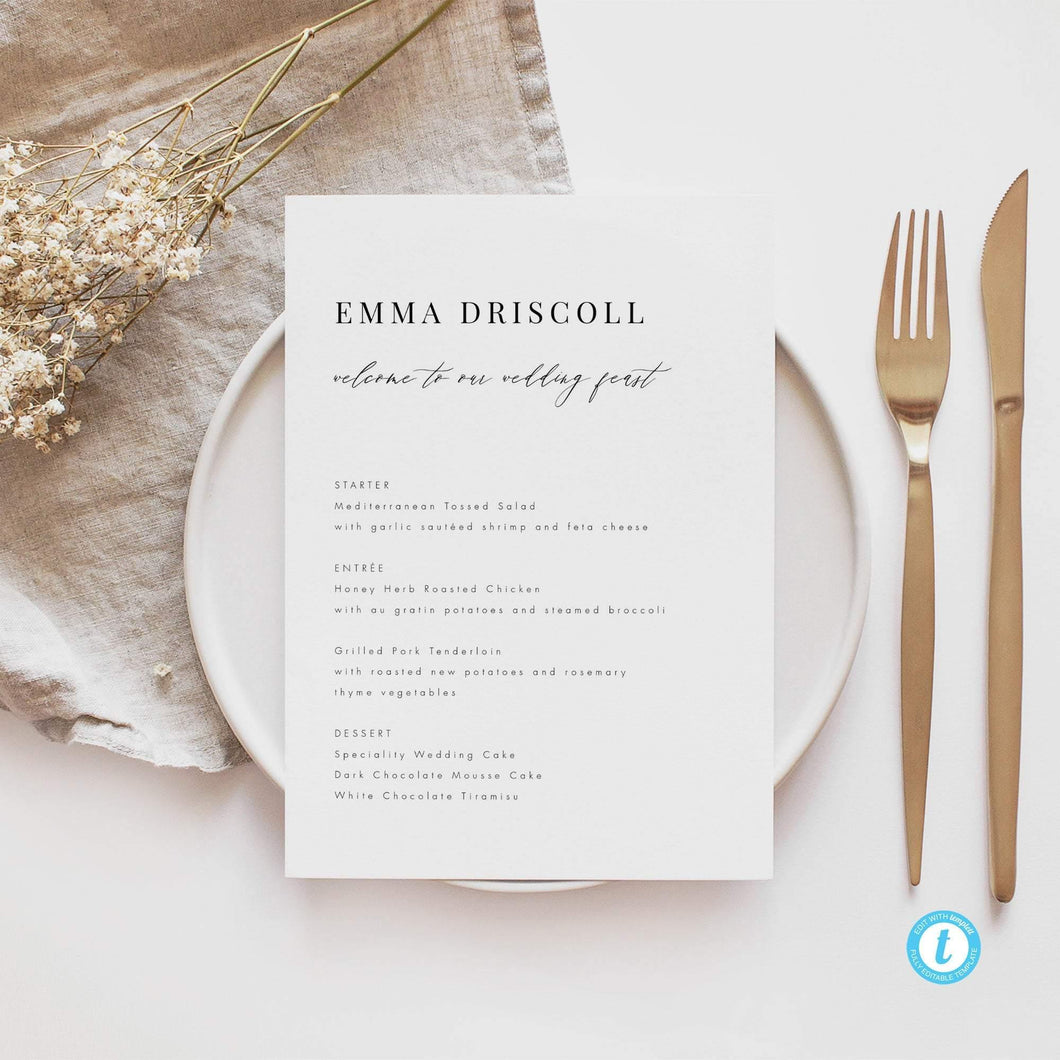Personalized Wedding Menu - Pearly Paper
