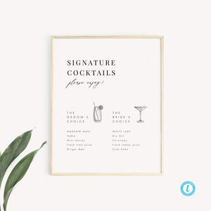 Signature Cocktails Sign - Pearly Paper