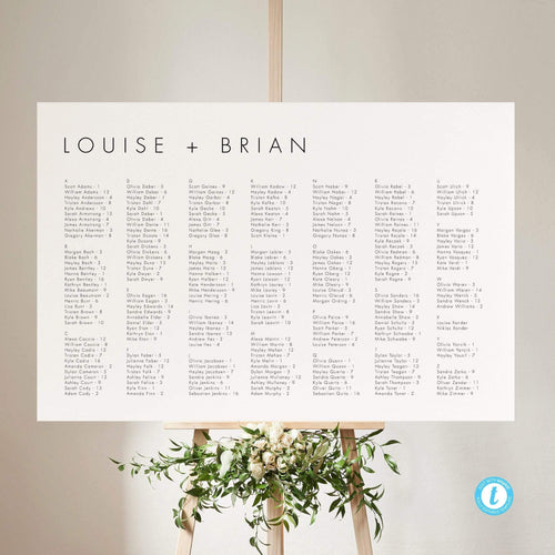 Alphabetical Minimalist Seating Chart Sign - Pearly Paper