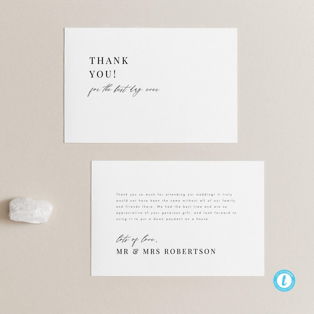 Minimalist Wedding Thank you - Pearly Paper