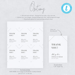 Minimalist Wedding Tag Thank you - Pearly Paper