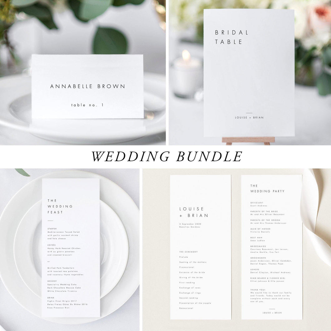 Minimalist Wedding Bundle Download Wedding Invitation - Pearly Paper
