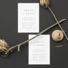 Load image into Gallery viewer, Modern Minimalist Wedding Invitation Template - Pearly Paper